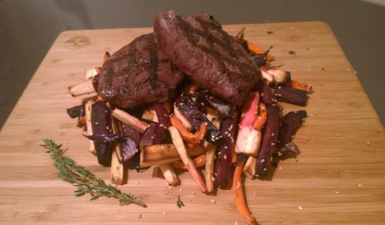 Bizon biefstuk met gegrilde groenten
