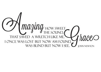 Amazing Grace Song Vinyl Wall Statement, Vinyl, QUOTE012