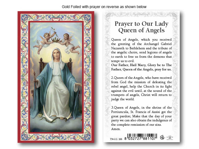Holy Card Prayer To Our Lady Queen Of Angels Holy Cards