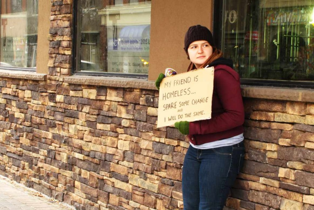 Students try panhandling themselves to see those who ask for money with empathy and compassion.