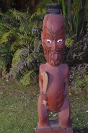 Maori wood carving of a man