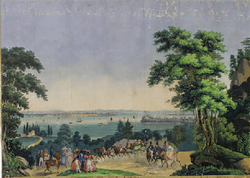 A SCENIC WALLPAPER PANEL FROM THE SERIES VIEWS OF NORTH AMERICA  BY ZUBER ET CIE LATE 19TH