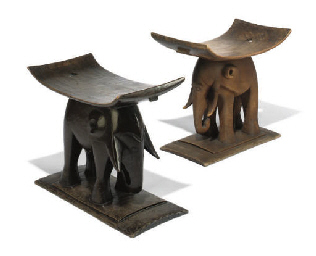 Two African Wood 39elephant39 Stools 20th Century Christie39s