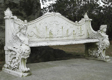 An Italian White Marble Garden Bench Late 19th Century