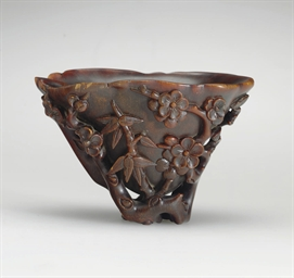 A RHINOCEROS HORN LIBATION CUP  18TH CENTURY  Christies