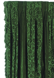 A PAIR OF EMERALD GREEN VELVET CURTAIN PANELS  LATE 20TH