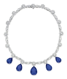 A TANZANITE AND DIAMOND NECKLACE, BY TIFFANY & CO