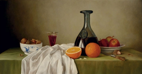 James Noble British 19191989  Still Life of fruit wine and a bowl of nuts on a draped