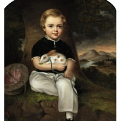 Baby Table And Chairs Shower American School, 19th Century , Portrait Of A Boy With Rabbit | Christie's