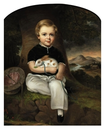 baby table and chairs best storytime series american school, 19th century , portrait of a boy with rabbit | christie's