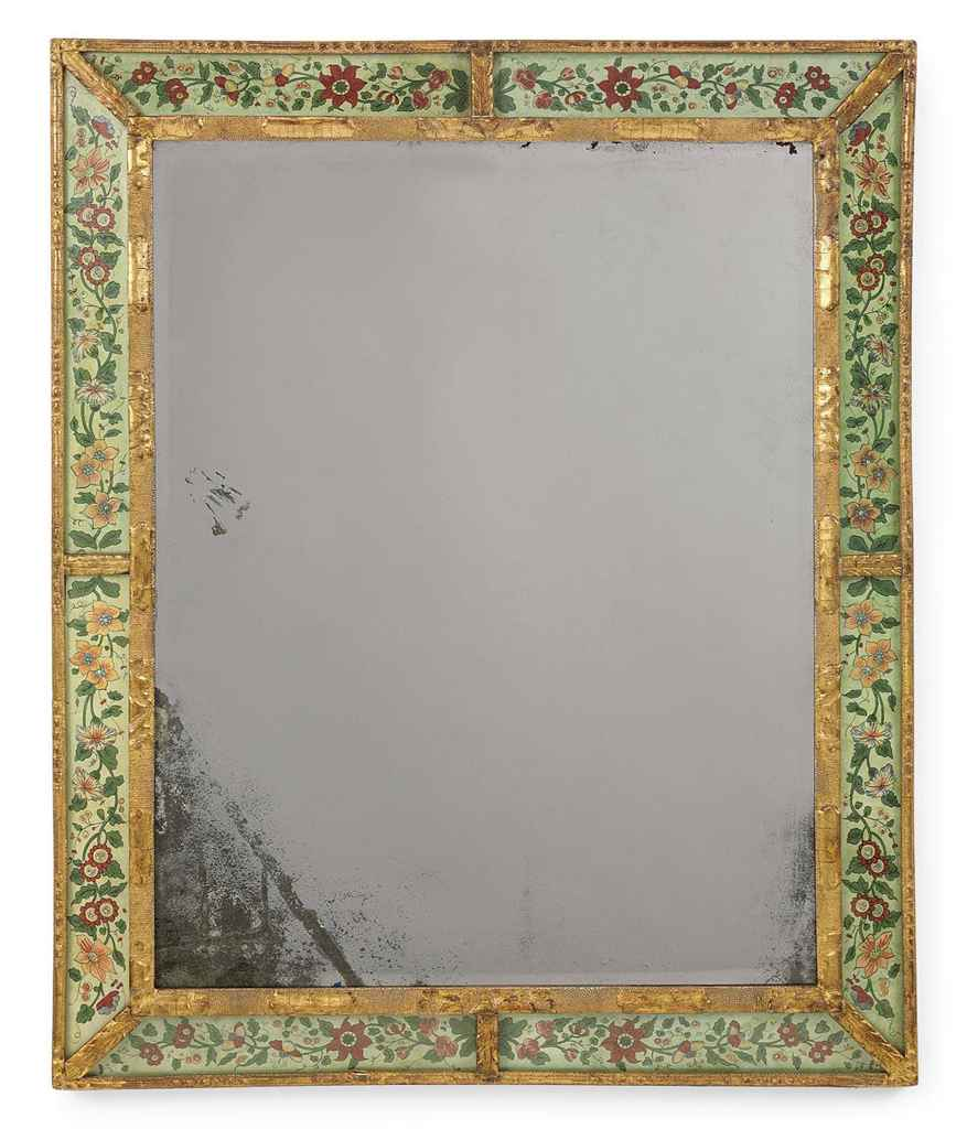 A BOHEMIAN GILTWOOD AND SIMULATED VERRE EGLOMISE MIRROR