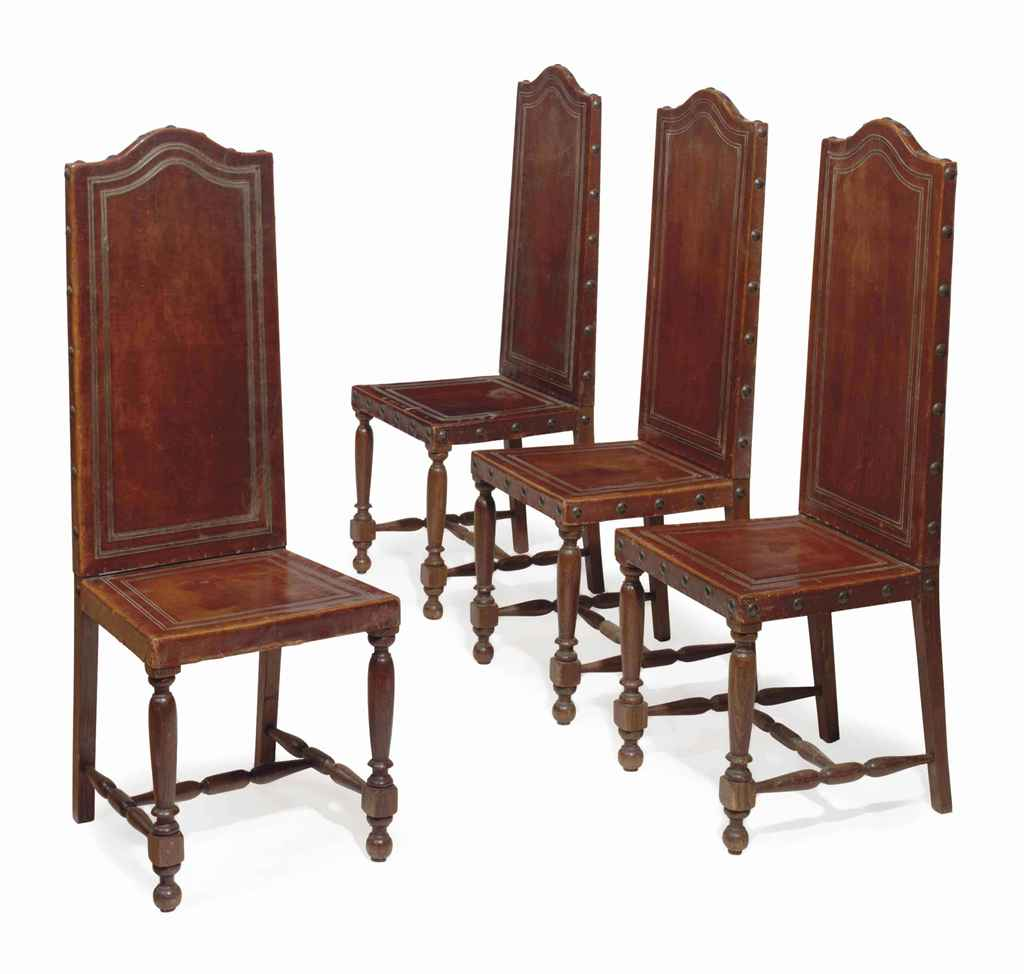 high back oak dining chairs rolling chair mat a set of seven and leather covered