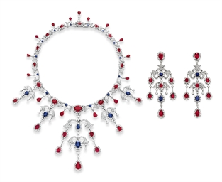 A SET OF RUBY, SAPPHIRE AND DIAMOND JEWELRY, BY HOUSE OF