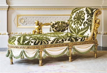 A FRENCH GILTWOOD CHAISE LONGUE  BY HENRIAUGUSTE