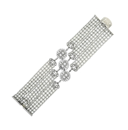 AN ART DECO DIAMOND AND SEED PEARL BRACELET, BY CARTIER
