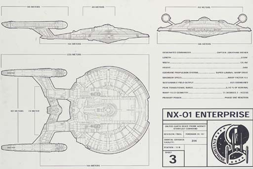 TECHNICAL DRAWINGS OF THE STARSHIP ENTERPRISE NX-01