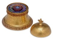 TIFFANY FURNACES , A GILT-BRONZE AND FAVRILE GLASS INKWELL ...