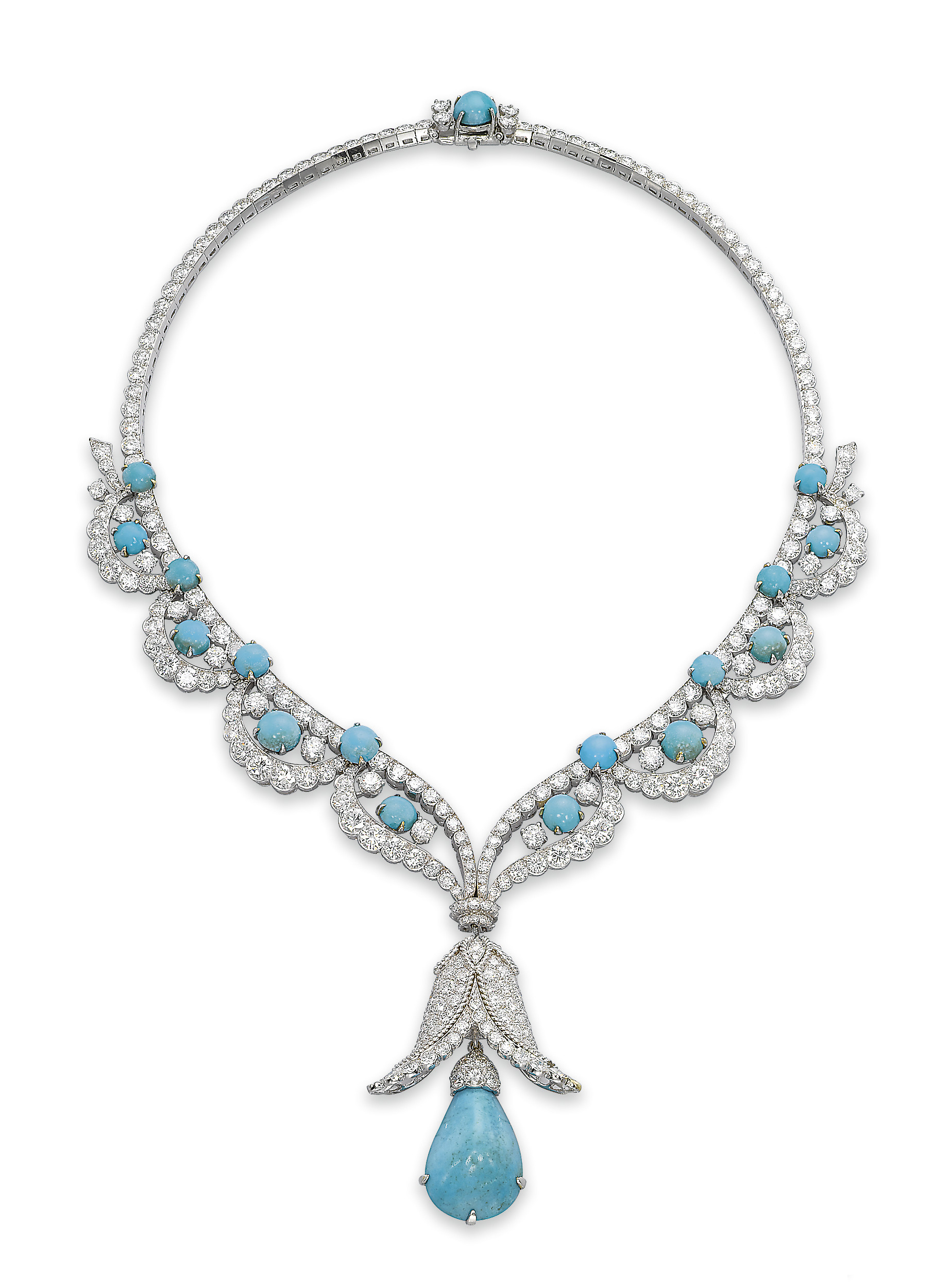 A CHARMING TURQUOISE AND DIAMOND NECKLACE, BY VAN CLEEF