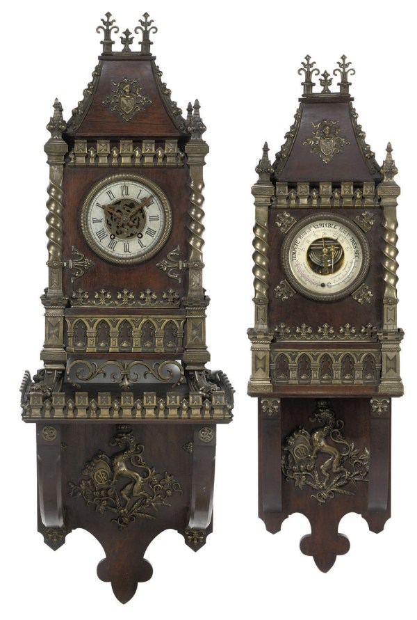 French Gothic Revival Patinated Brass-mounted Striking