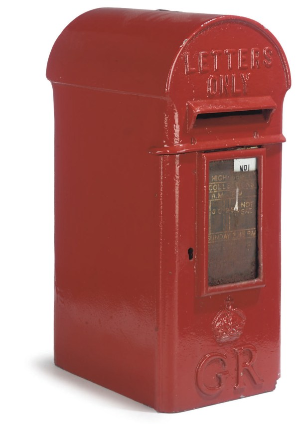 Red-painted Cast-iron Post Box Early 20th Century