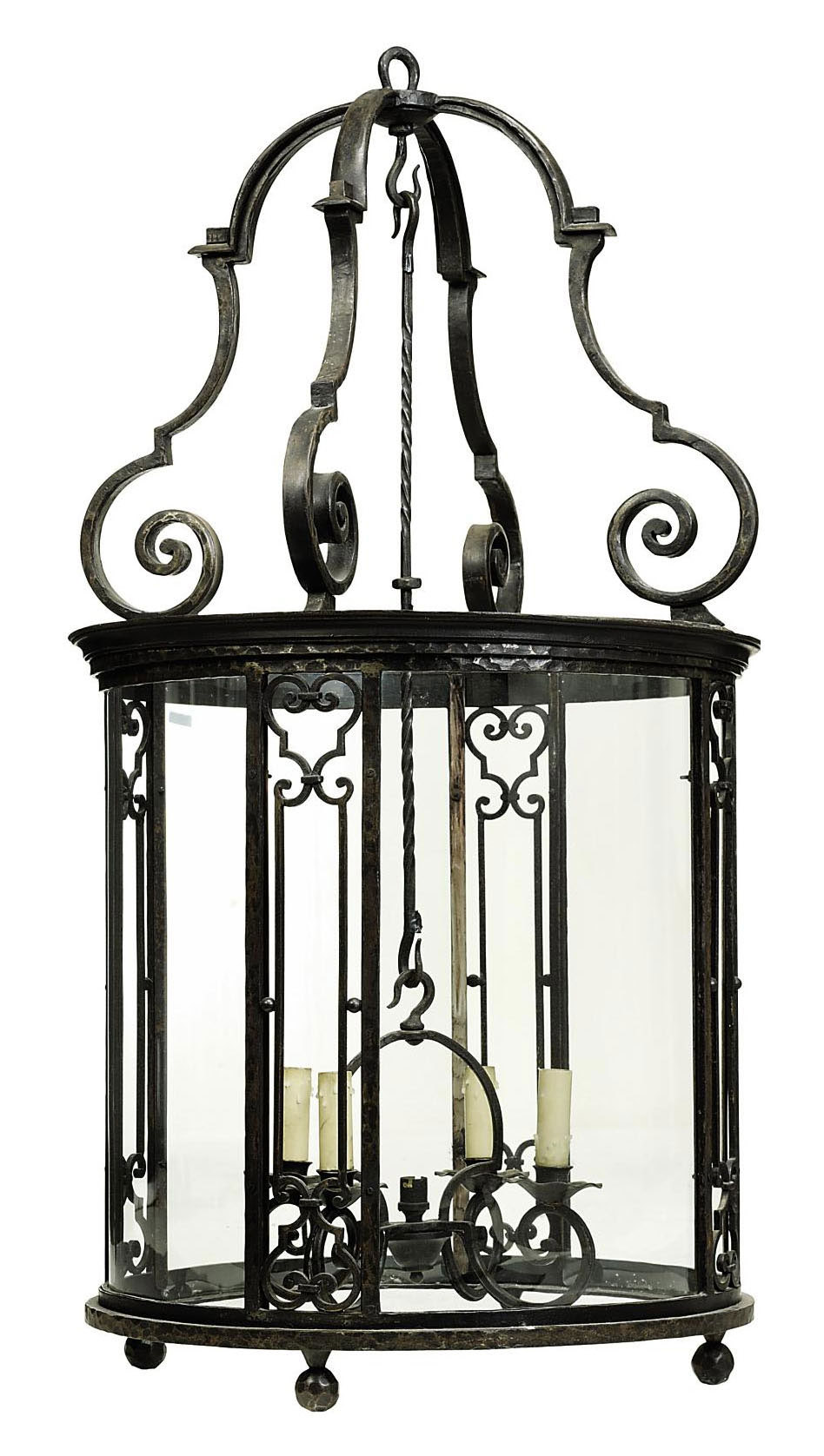A FRENCH WROUGHT-IRON LANTERN , LATE 20TH CENTURY