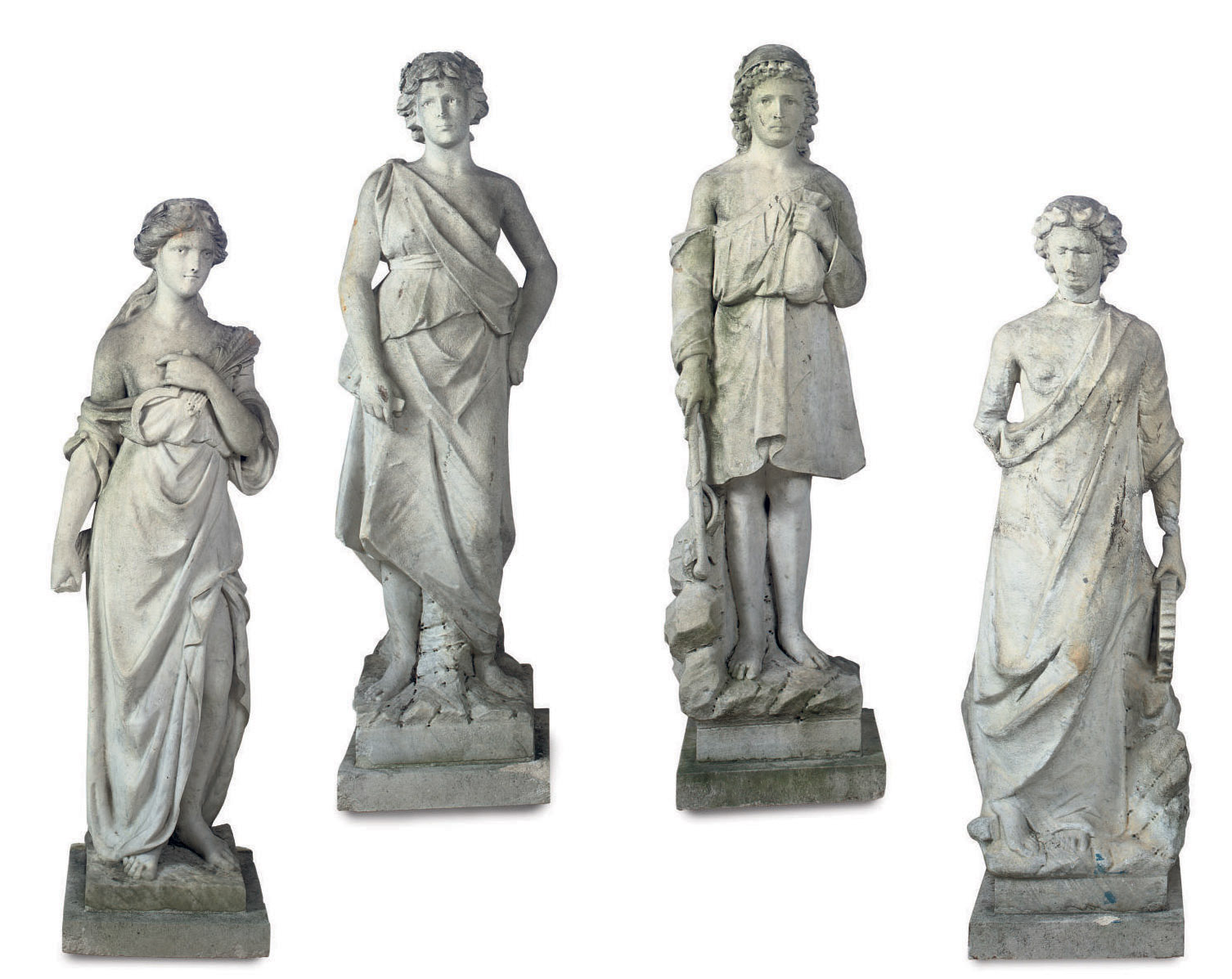 A Set Of Four Marble Models Roman Gods And Goddess 19th