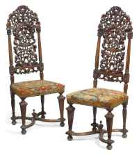 A PAIR OF MID VICTORIAN SOLID ROSEWOOD HIGH-BACK CHAIRS ...