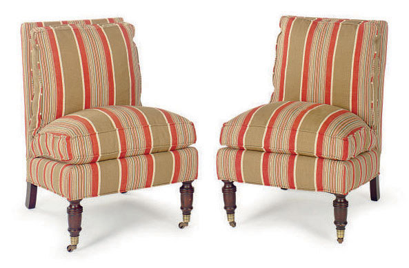 upholstered slipper chair resin adirondack chairs canada a pair of linen by lillian august
