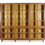 A Pair Of Massive Bone Inlaid Oak Vitrine Cabinets Mid