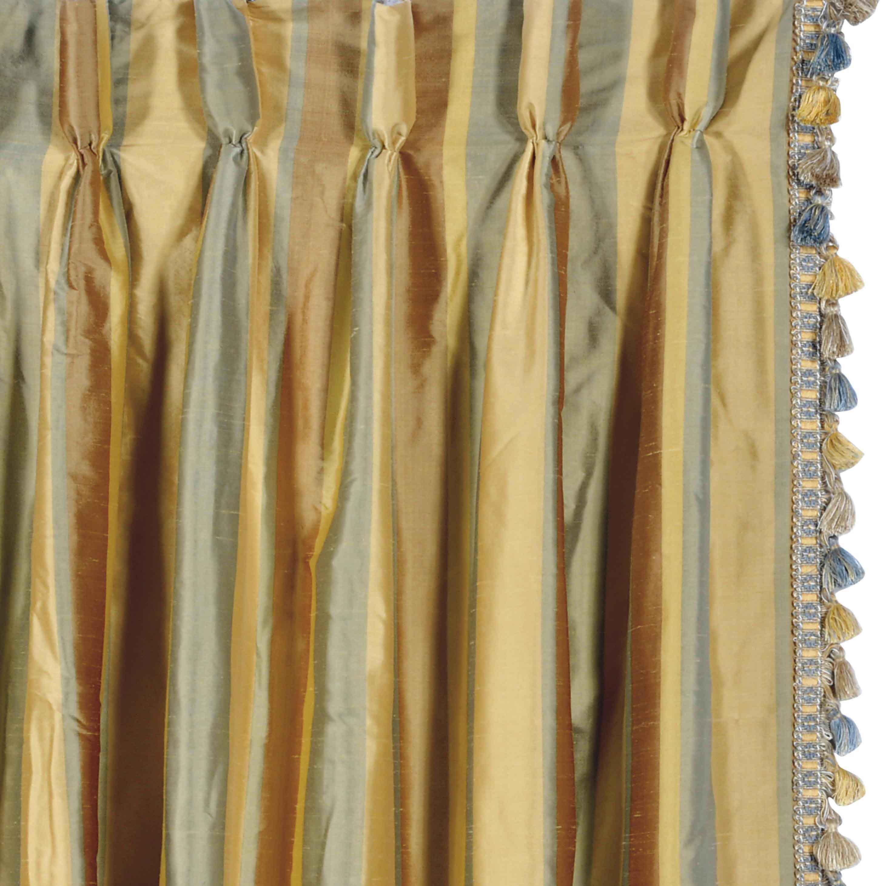 six striped silk curtain panels