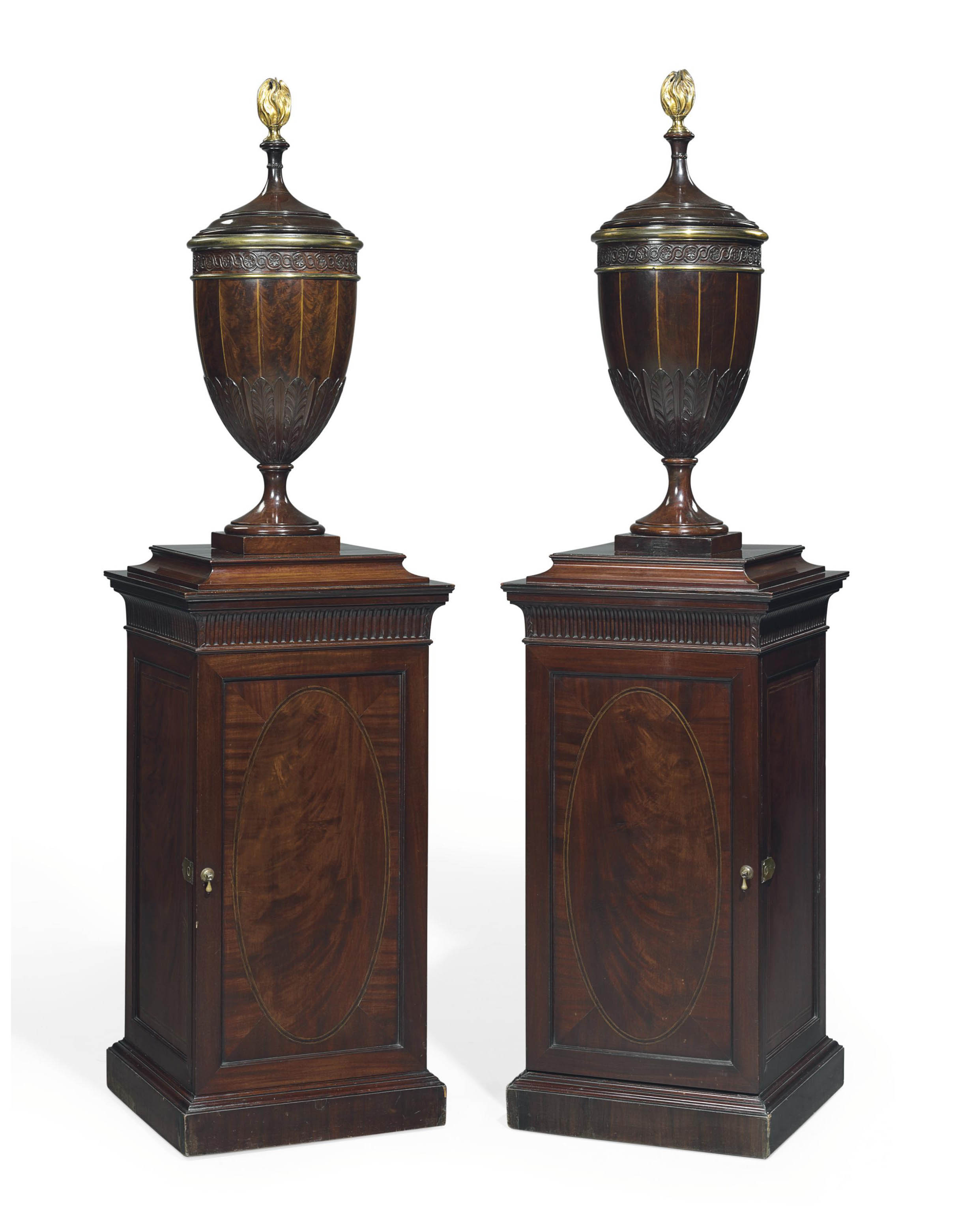 A Pair Of Late Victorian Inlaid Mahogany Urns And