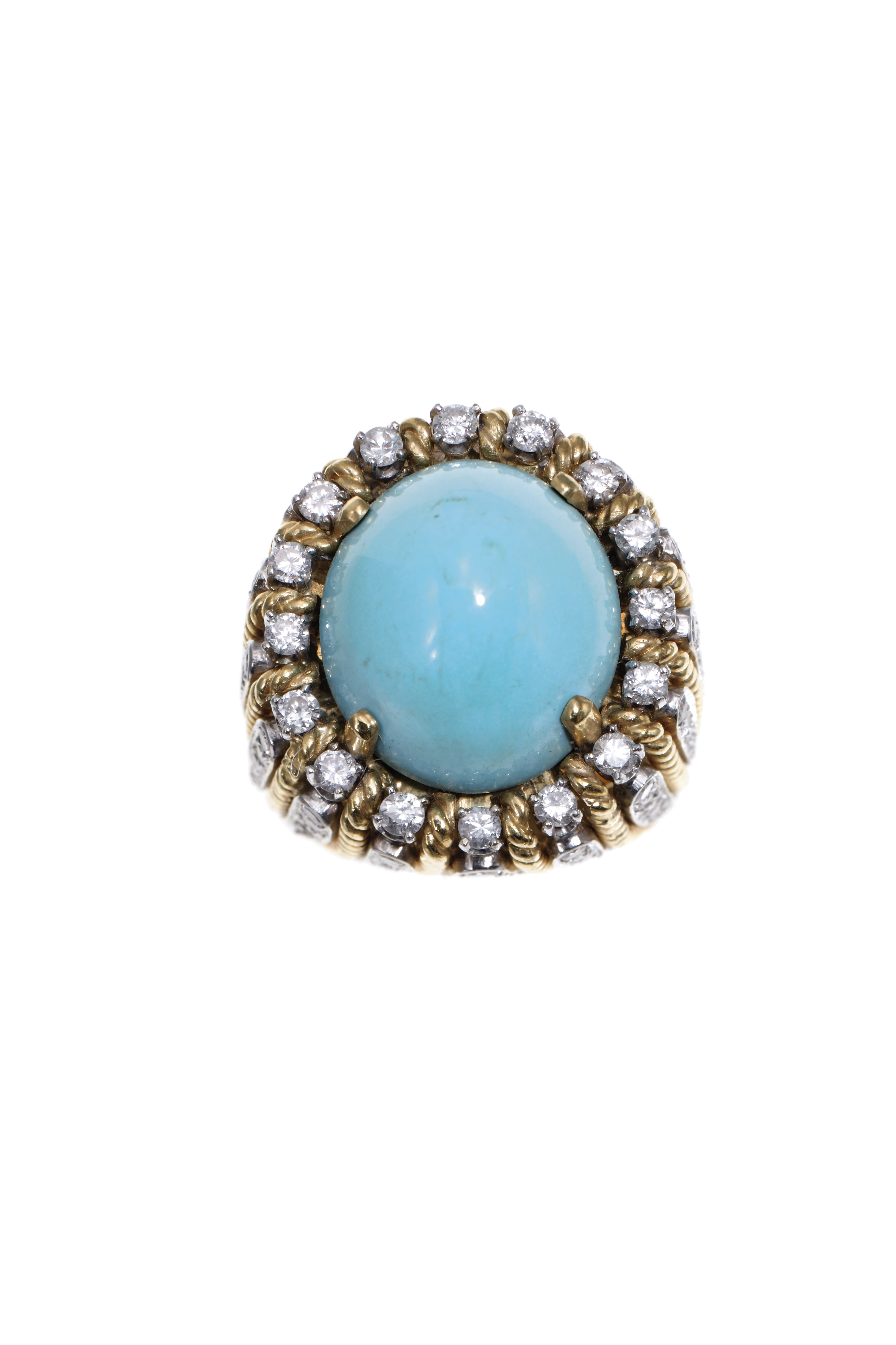 A CABOCHON TURQUOISE DIAMOND AND BICOLOR GOLD RING  Christies