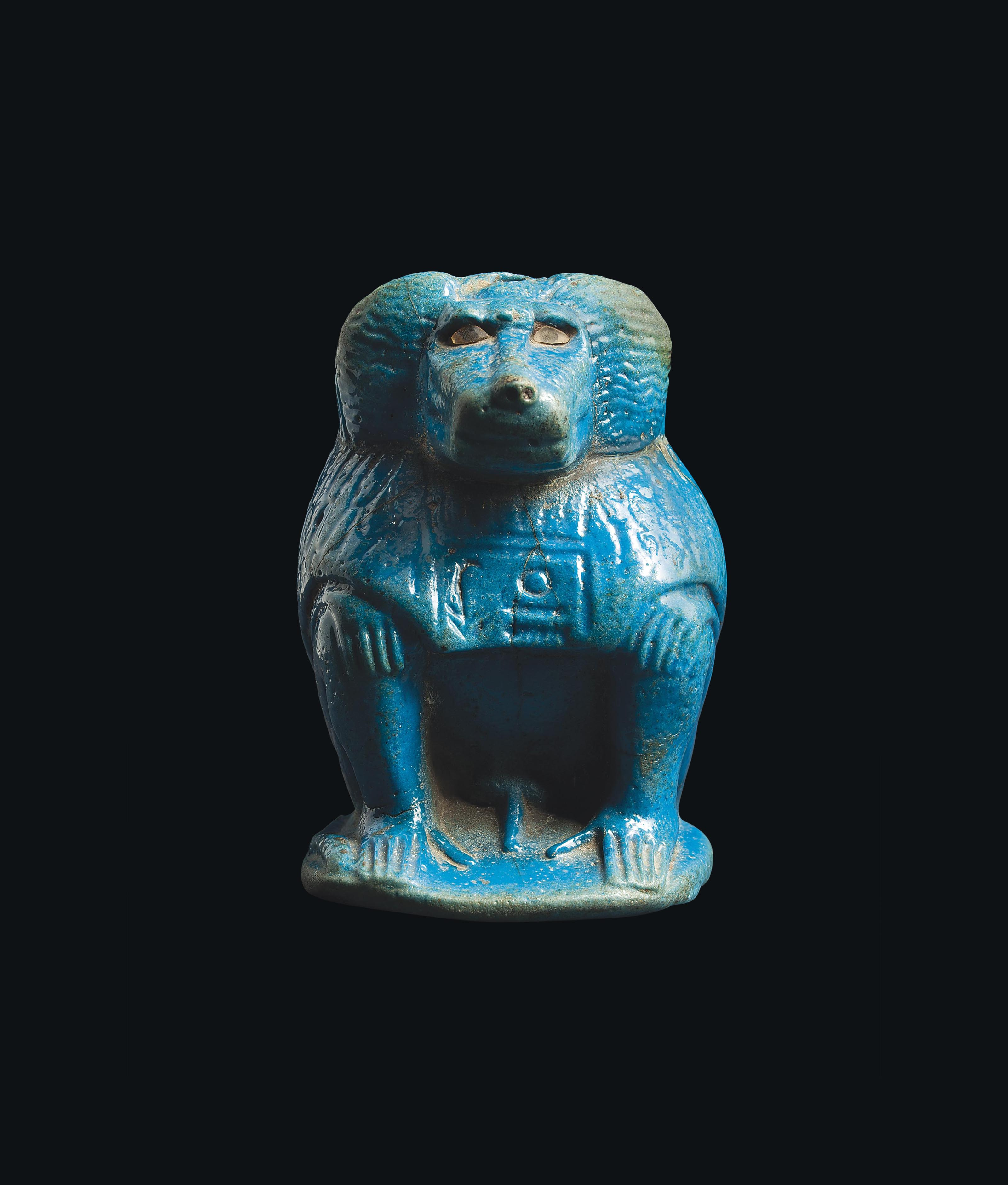 AN EGYPTIAN BLUE FAIENCE KHONSU AS A BABOON  NEW KINGDOM DYNASTY XIXXX CIRCA 12911191 BC