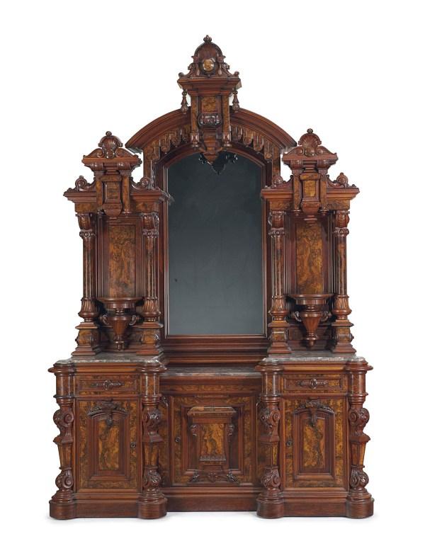 Renaissance Revival Walnut Marble-top Sideboard Thomas