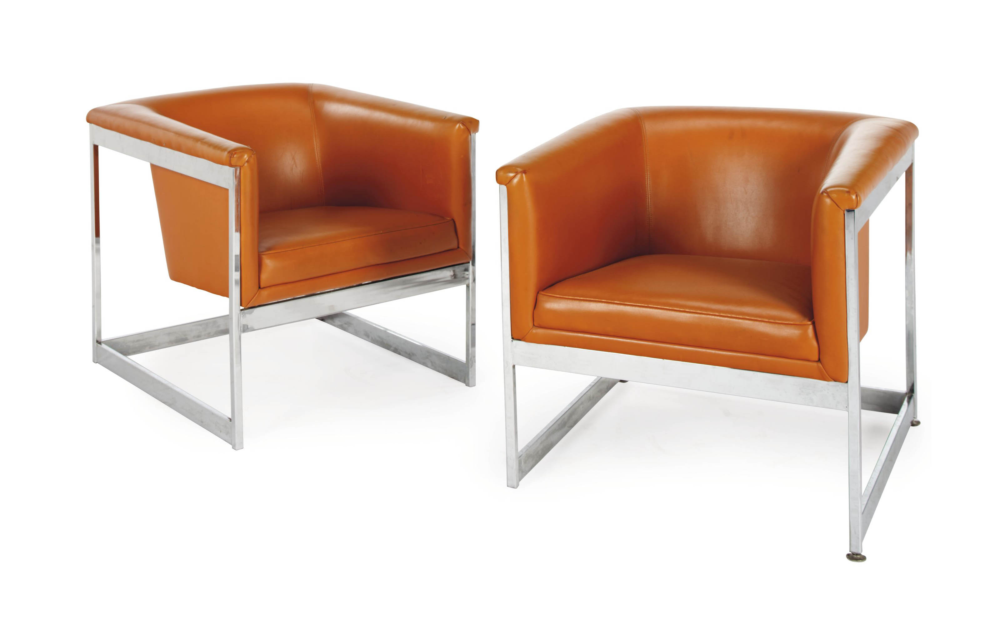 orange leather chairs white office johannesburg a pair of and silver metal club