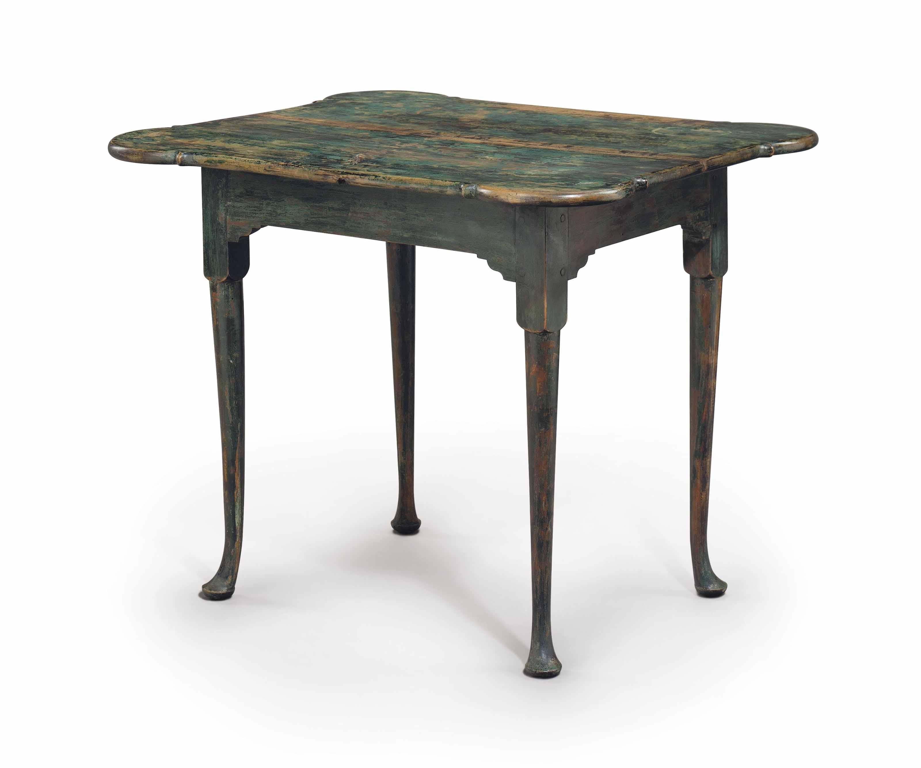 painted queen anne sofa table e cia criciuma a blue green maple porringer top tea lot 172 property of new england family read more