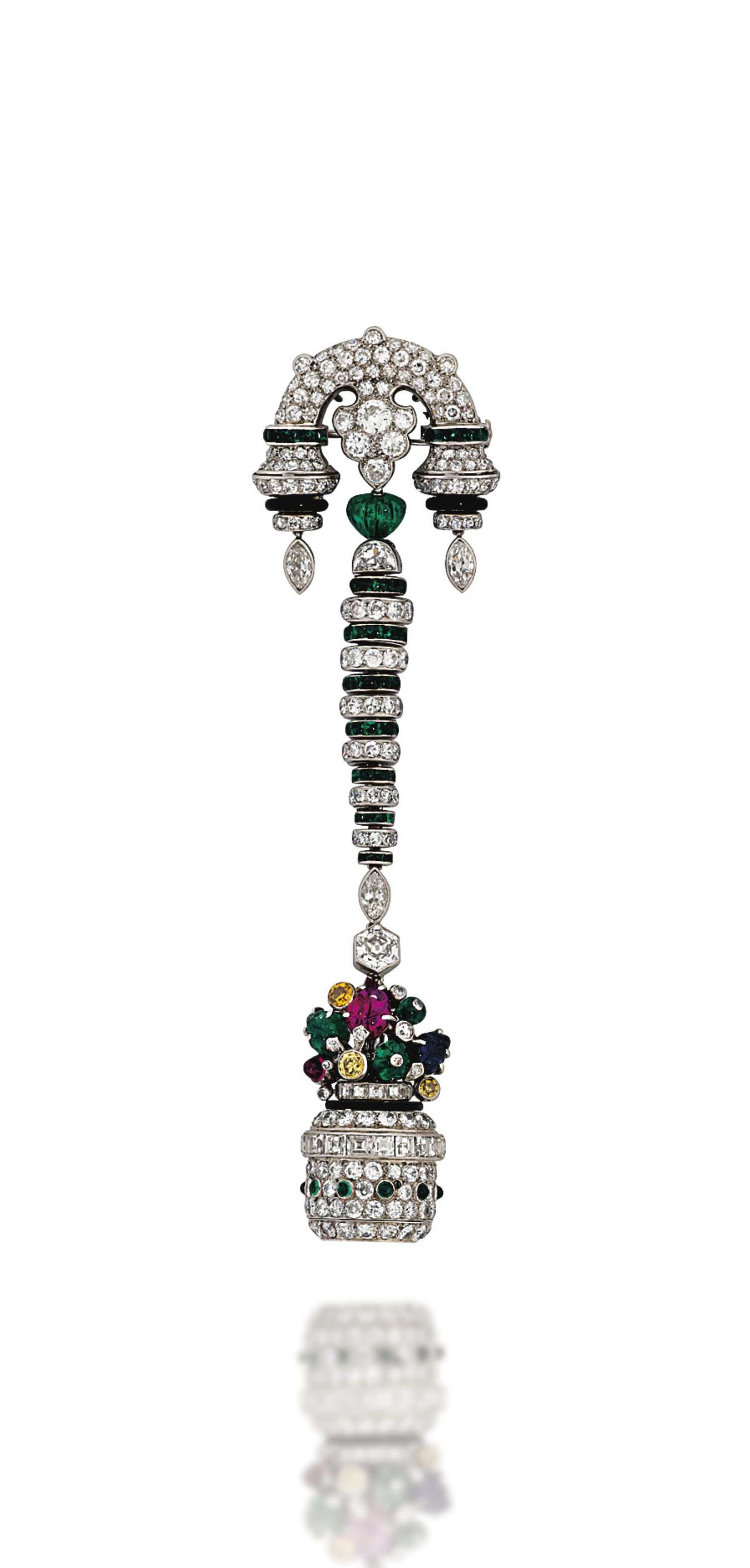 A Fine Art Deco Gem And Diamond Lapel Watch