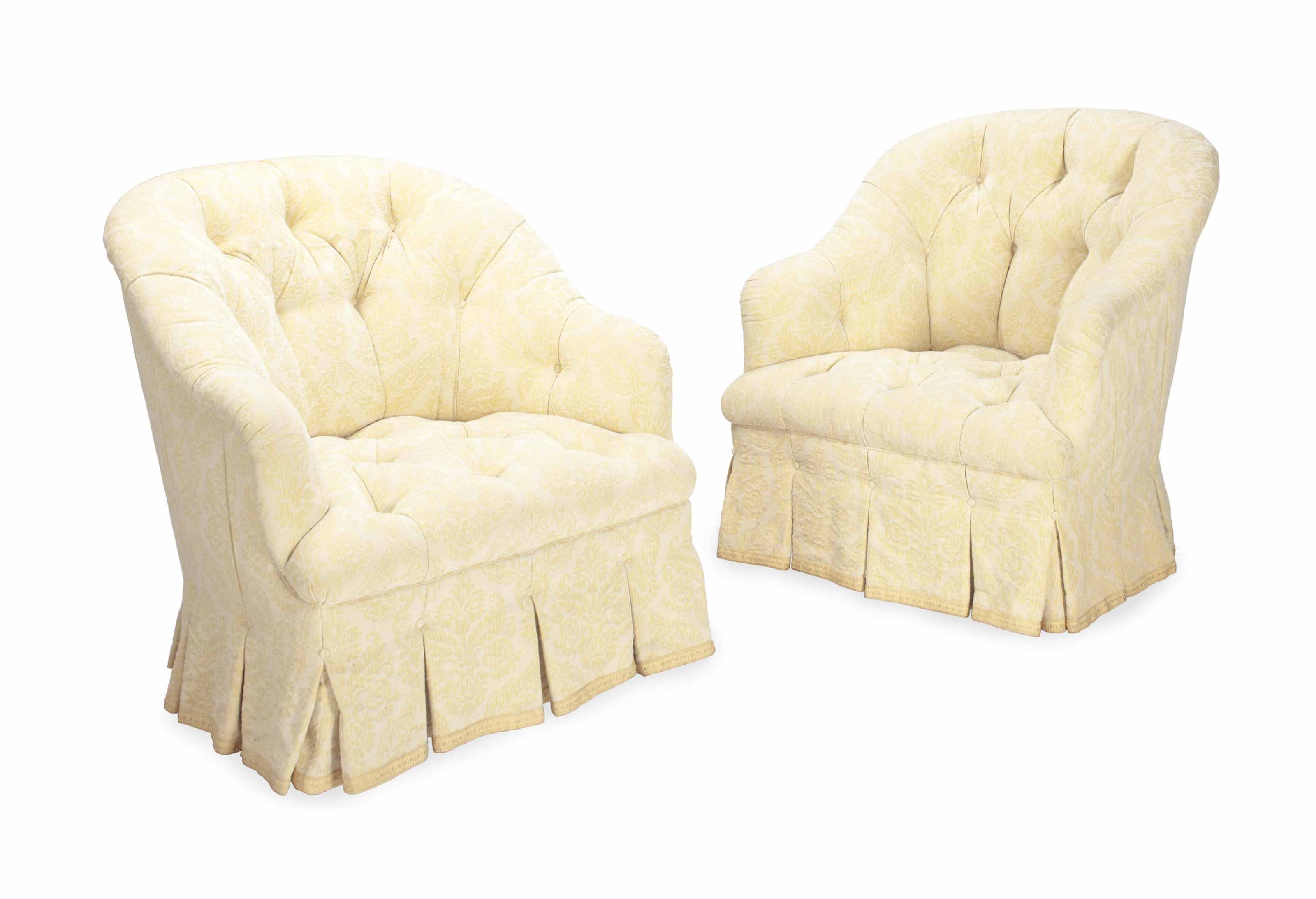 tufted yellow chair gandia blasco clack a pair of button and cream upholstered club