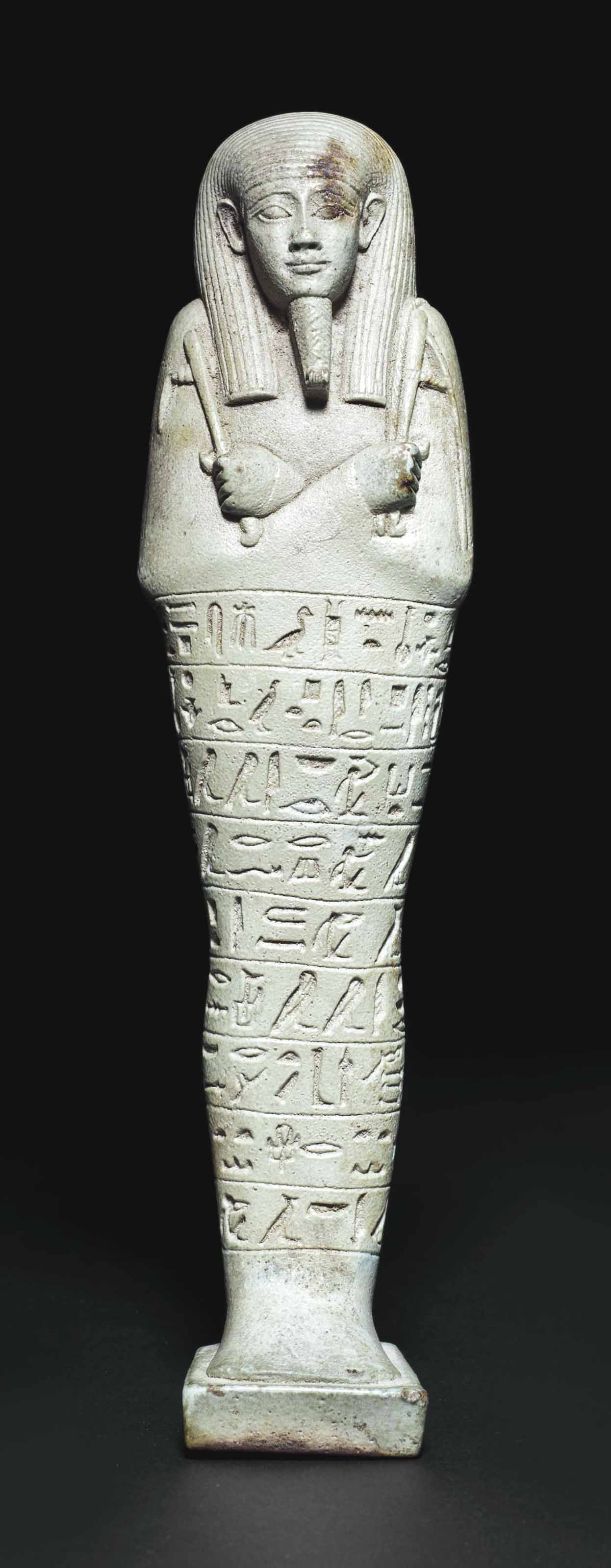 AN EGYPTIAN FAIENCE SHABTI FOR NEFERIBRESANEITH  LATE PERIOD 26TH DYNASTY 664525 BC