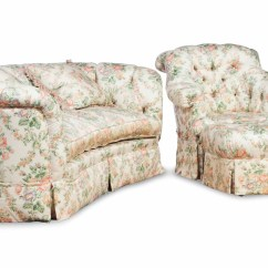 Tufted Club Sofa Omnia West Point Conversation A Button Chair And Ottoman Covered In