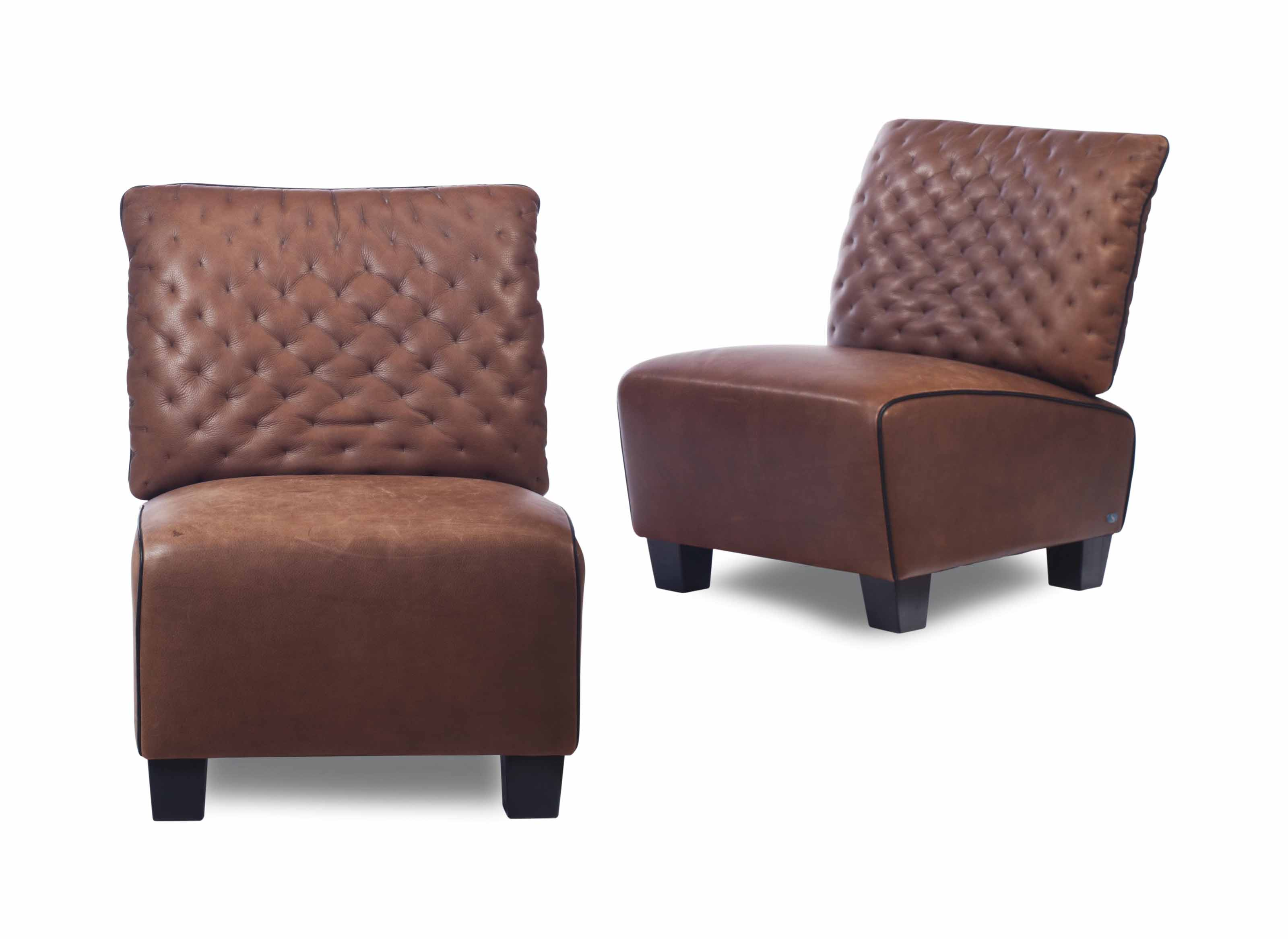 leather slipper chair chocolate best guitar stool a pair of brown chairs by de sede
