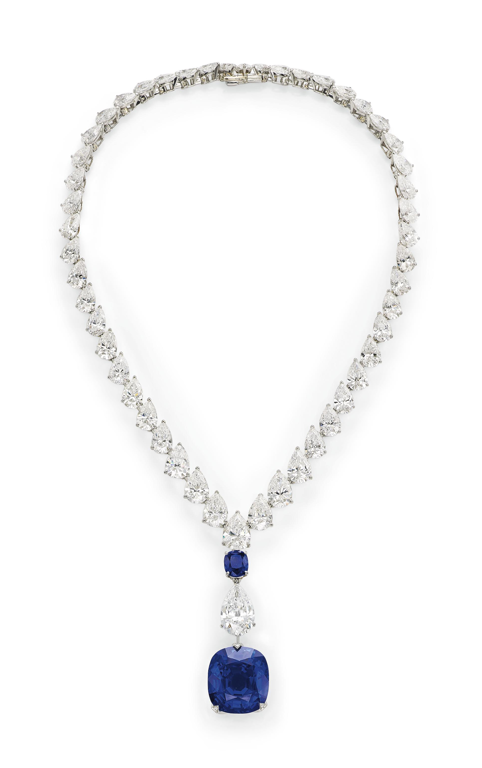 A Magnificent Sapphire And Diamond Necklace By Cartier