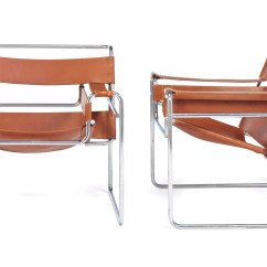 Wassily Chair Brown Leather Small Sofa A Pair Of Chromed Steel And 39wassily