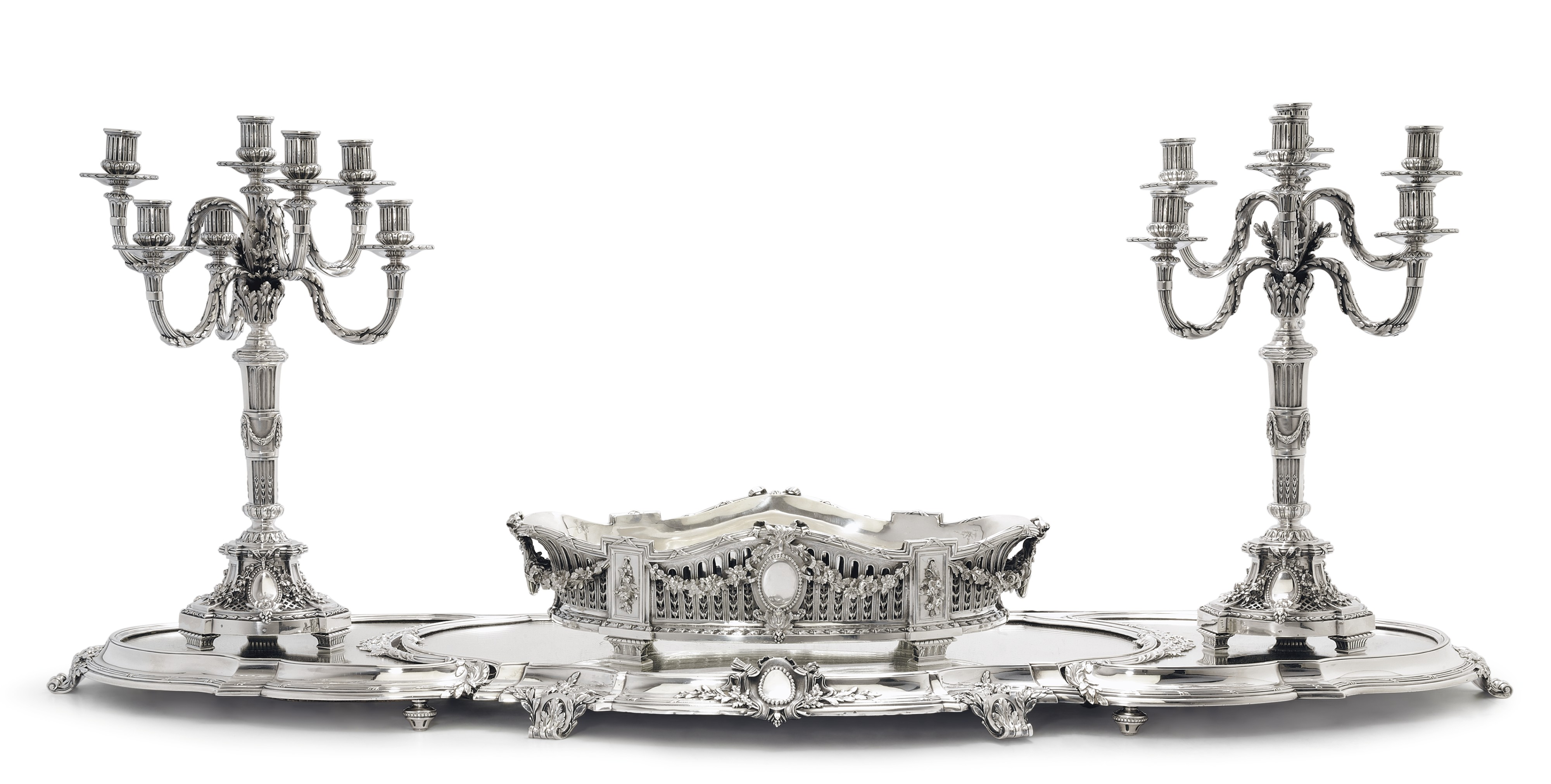 A French Silver Dining Table Garniture Mark Of Tetard