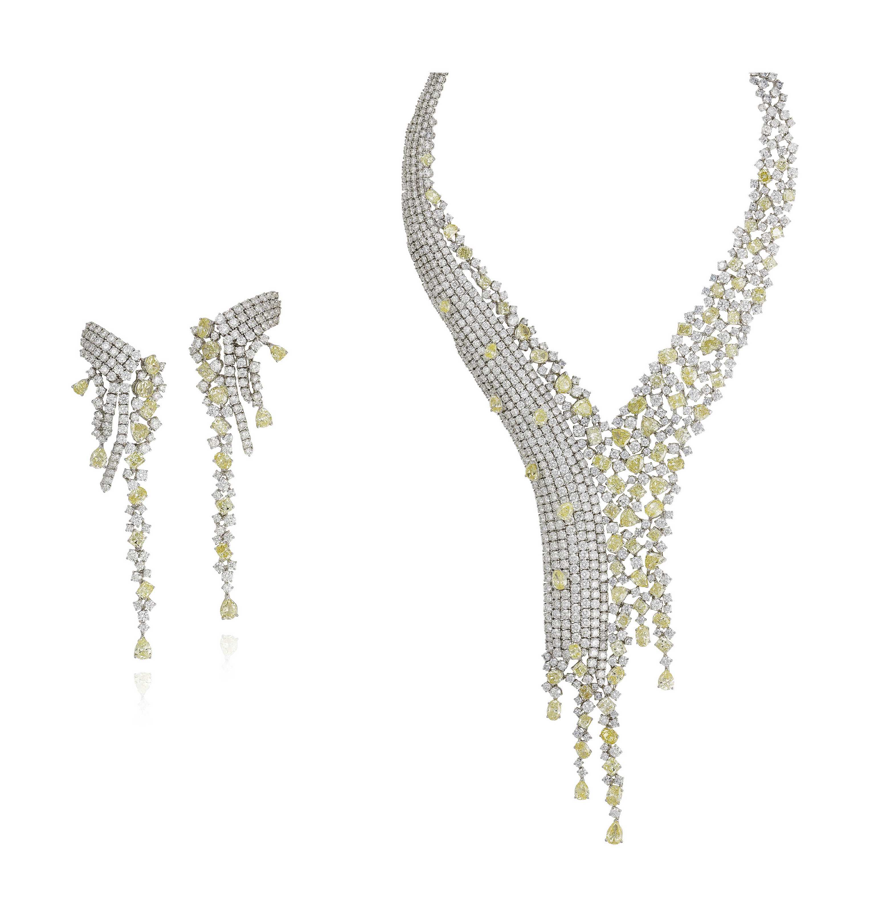 A DIAMOND AND COLOURED DIAMOND NECKLACE AND EARRING SET