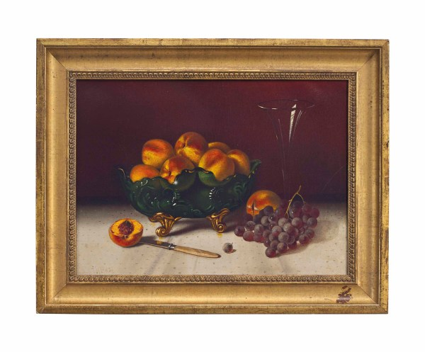 Thomas Henry Hope 1832-1926 Peaches In Green Glass