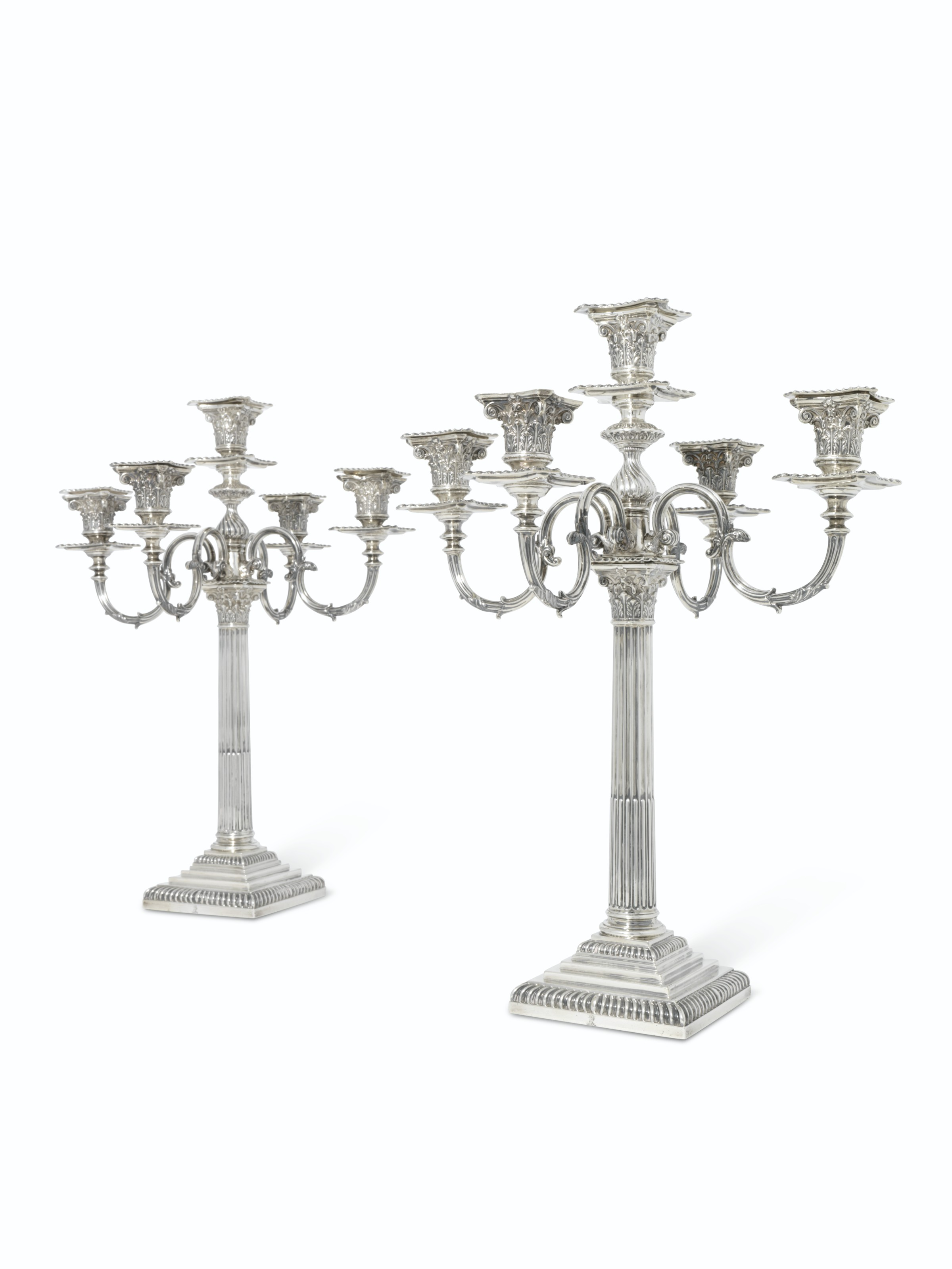 TWO VICTORIAN SILVER FIVE-LIGHT CANDELABRA , MARK OF