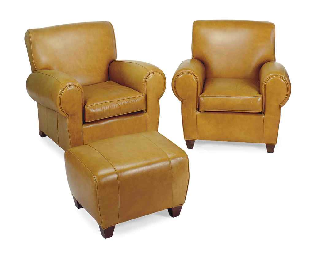 modern leather chair and ottoman winnie the pooh high banner a pair of tan upholstered club chairs