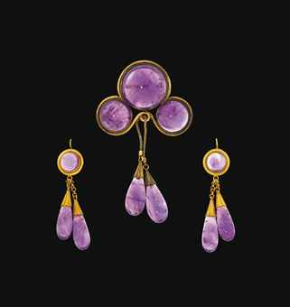 A Victorian gold and amethyst demi-parure