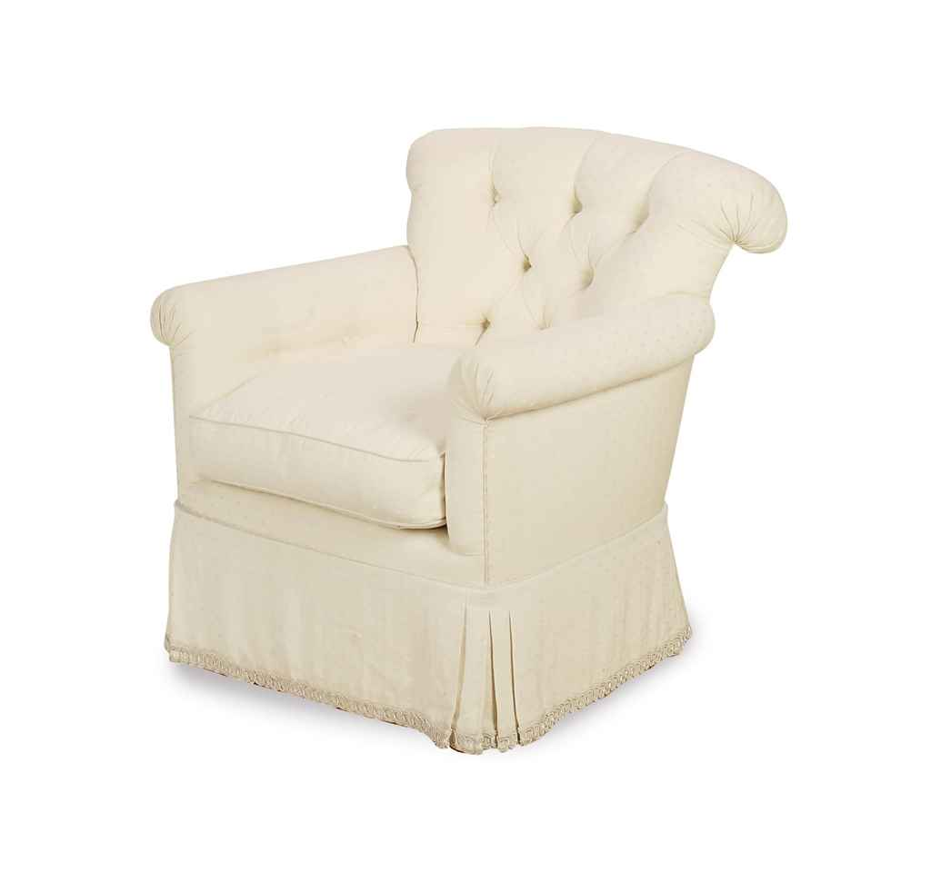 cream club chair wedding covers chesterfield a button tufted upholstered late 20th